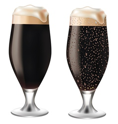 Dark beer in glass with drops vector image