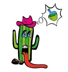 Drawing cartoon plant tequila cactus in heat wants vector