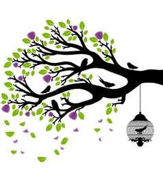 drawing of the tree with cages vector image