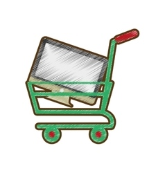 Drawing shopping cart online computer digital vector