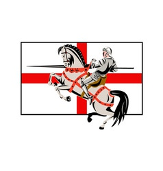 English Knight Lance Horse England Flag Side Retro vector image