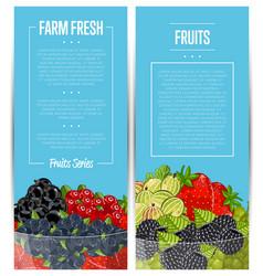 Farm fresh berry flyers set vector