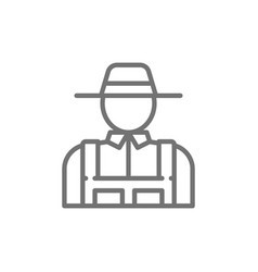 farmer agriculture gardening line icon vector image