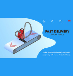Fast delivery landing page isometric template vector