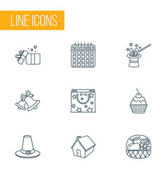 festival icons line style set with gifts bells vector image