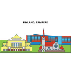 Finland tampere city skyline architecture vector