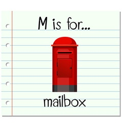 Flashcard letter M is for mailbox vector image