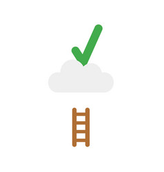 flat design concept of check mark on cloud with vector image