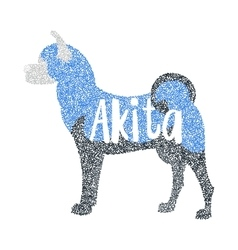Form of round particles akita breed dog vector