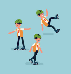 funny little set kid character trying to ride vector image