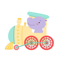 Funny red cheeked hippo riding on train vector