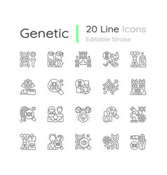 genetic engineering linear icons set vector image