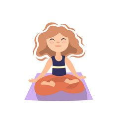 girl doing yoga on yoga matt in lotos pose vector image