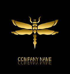 Golden dragonfly symbol vector