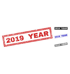 grunge 2019 year textured rectangle watermarks vector image