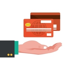 hand with credit cards banking vector image