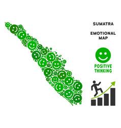 Happiness sumatra island map mosaic of vector