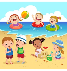 Happy kids having fun on the beach vector image vector image