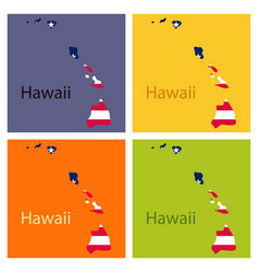 Hawaii state of america with map flag print on vector