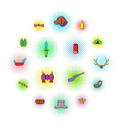 hunting set icons comics style vector image