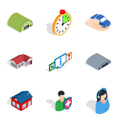 Immovables icons set isometric style vector