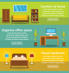 Interior comfort banner horizontal set flat style vector