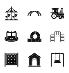 Kids games icons set simple style vector