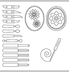 Knife and operating tool for carving vector