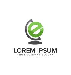 letter e globe logo design concept template fully vector image