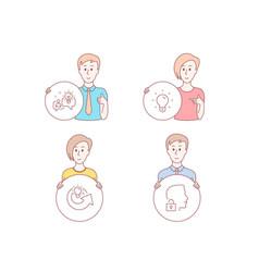Light bulb idea and share idea icons unlock vector