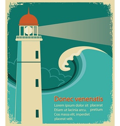 Lighthouse poster for text on old paper vector