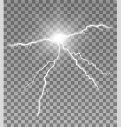 lightning glowing with flash on transparent vector image