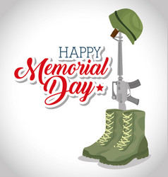 Memorial day card with rifle war vector