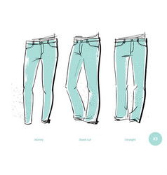men jeans fits vector image
