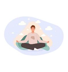 Men sitting on floor and meditating in lotus pose vector