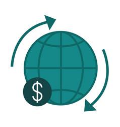 Mobile banking around world exchange finance flat vector