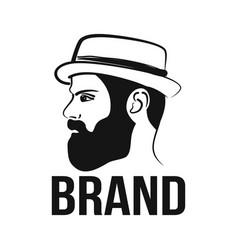 modern stylish guy hipster logo vector image