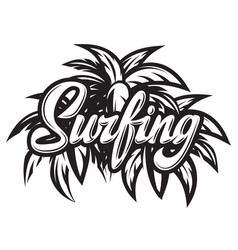 monochrome calligraphic inscription surfing vector image