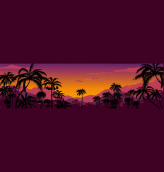 palm tree silhouette background california sunset vector image