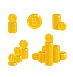 Piles gold bitcoins isolated cartoon set vector