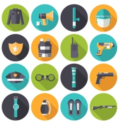 police uniform and set protection icons on vector image