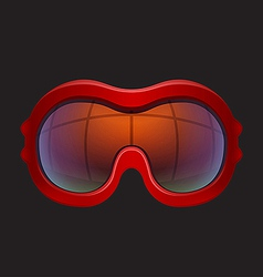 Red tinted ski goggles vector
