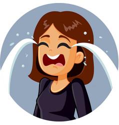 Sad woman crying vector