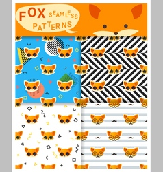 Set animal seamless patterns with fox 2 vector