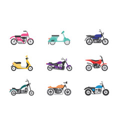 set bike and motorcycle transportation flat vector image
