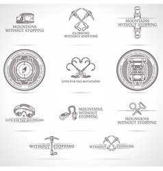 Set mountaineering and tourism emblems vector