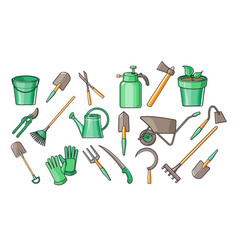set of garden accessories for cultivating vector image
