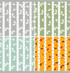 Set of seamless pattern birch trees vector