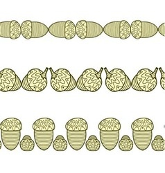 Set of the seamless decorative borders with acorns vector