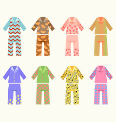 Set pajamas with colorful vector